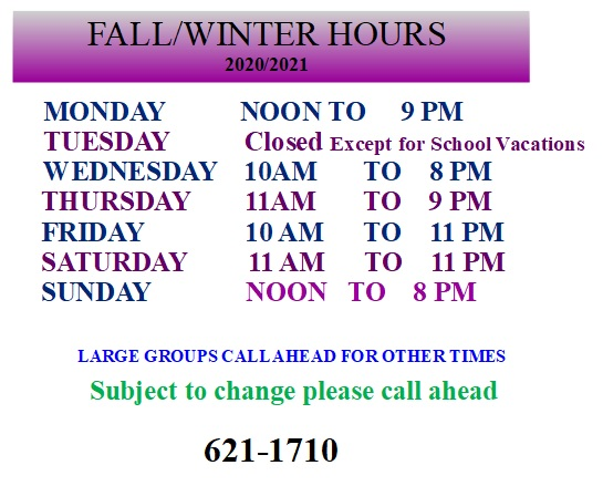 Fall/Winter Hours